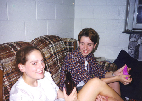 Megan and Ashlie Sophomore Year Stinky Larry Couch