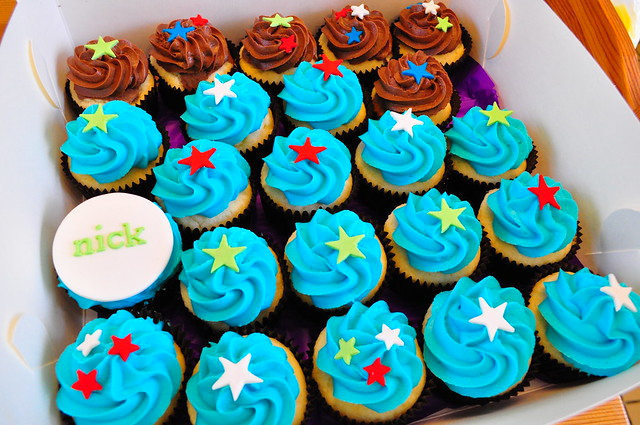 Boy s birthday cupcakes Vanilla vanilla, choc marble and ...