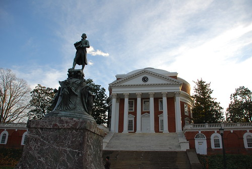 Thomas Jefferson statue in front of The Rotunda