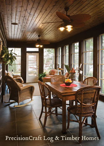 Sun room in a custom hybrid home located in wisconson for Log cabin sunroom additions