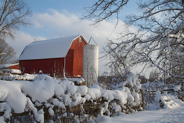 Red Barn with Silo