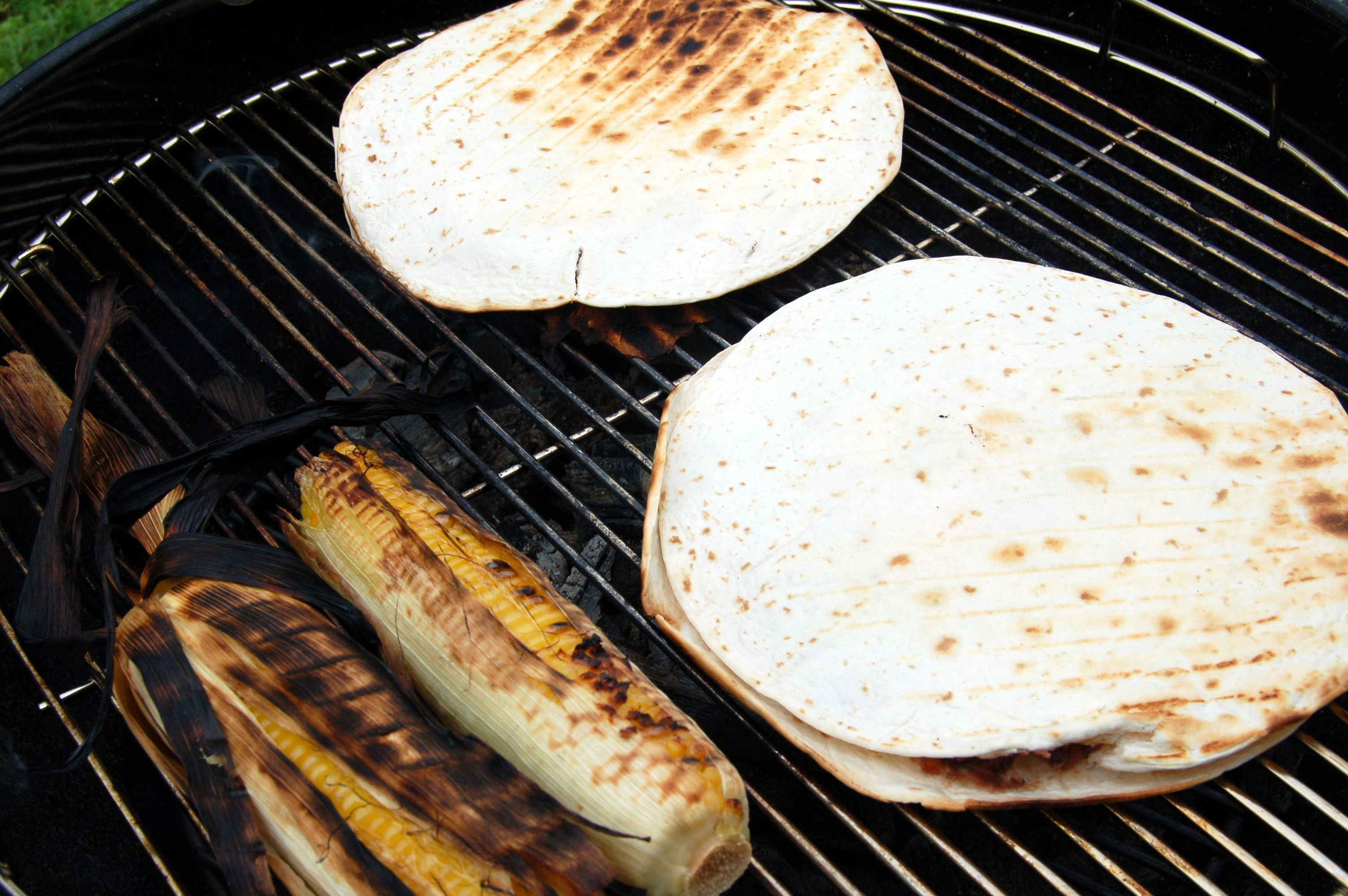 Black bean and goat cheese quesadillas | With grilled corn o ...