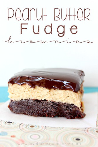 Peanut Butter Fudge Brownie on wax paper close up.