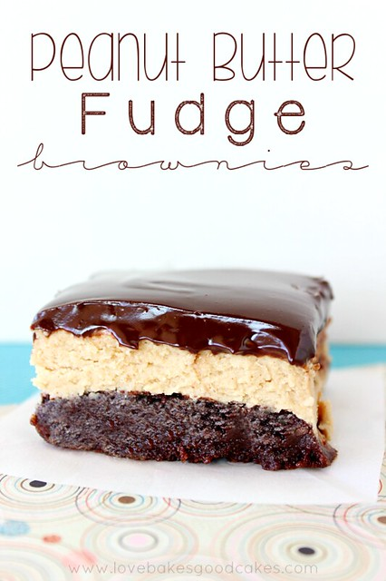 Peanut Butter Fudge Brownies - a chocolaty brownie with a layer of peanut butter fudge, topped with a rich chocolate ganache! #chocolate #peanutbutter #dessert #brownies