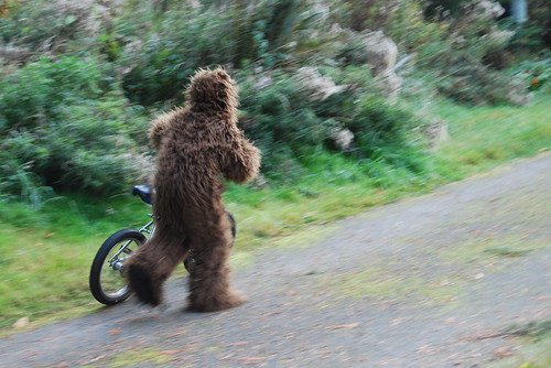Bigfoot Pushes Bike