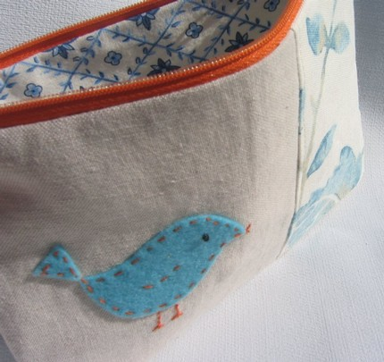 Felt Blue Bird applique on Linen Pouch
