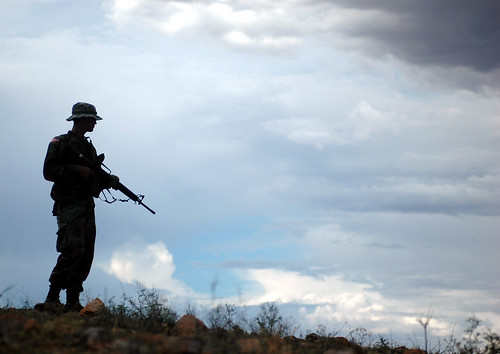 A National Guard Soldier from the 29th Brigade Combat Team, assisting the U.S. Border Patrol