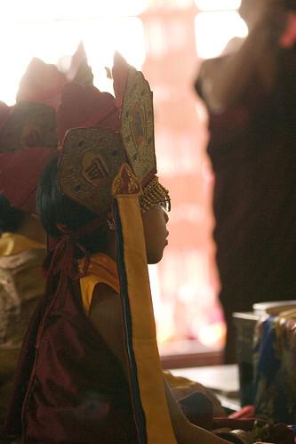 HE Asanga Sakya wearing crown, Sakya Lamdre, highest yoga tantra empowerment, Tharlam Monastery, Boudha, Kathmandu, Nepal by Wonderlane