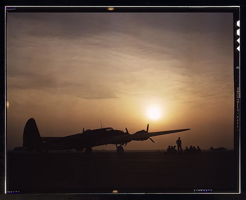Sunset silhouette of flying fortress, Langley Field, Va.  (LOC)