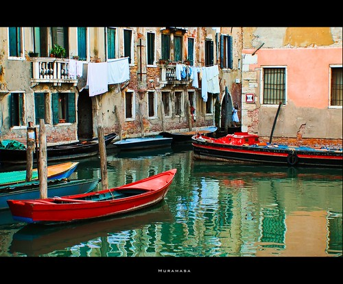 Red Boat in Venice