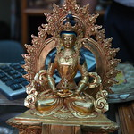 Statue of Amitābha / Amitayus Buddha, sculpture, Fancy Tibetan style gold over brass, Boudha, Kathmandu, Nepal
