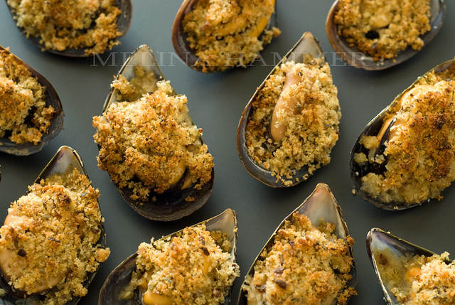 baked mussels with spicy breadcrumbs   Flickr - Photo Sharing!