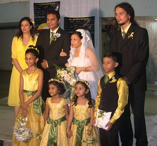The bridesmaid and the flower girls