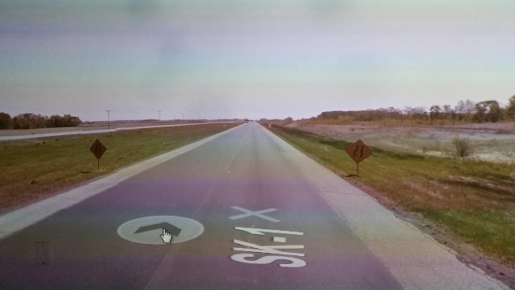 Approaching narrow. #ridingthroughwalls #xcanadabikeride through #googlestreetview #saskatchewan