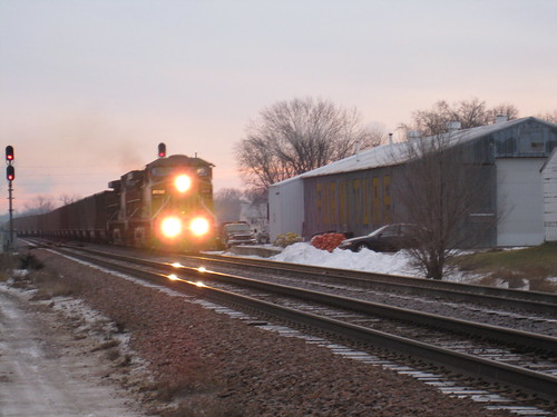 railroad winter light train rail rr headlights transportation unionpacific locomotive freight westbound