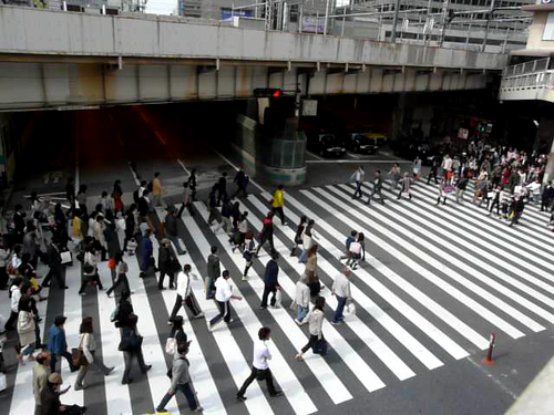 crosswalk at Osaka station