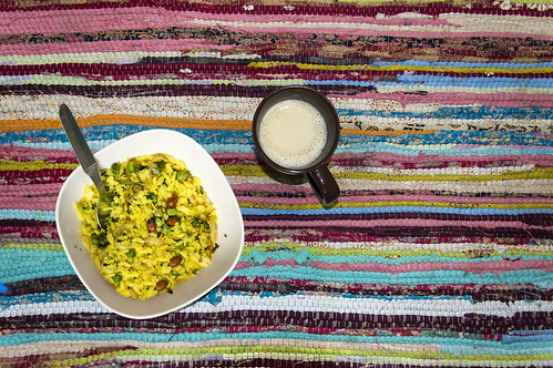 Poha(Pounded paddy) and coffee