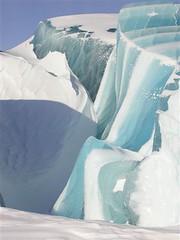 ice cave(0.0), sea ice(0.0), arctic ocean(1.0), arctic(1.0), glacial landform(1.0), melting(1.0), ice cap(1.0), polar ice cap(1.0), ice(1.0), azure(1.0), glacier(1.0), freezing(1.0), iceberg(1.0),