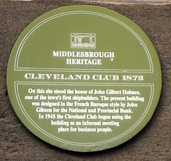 Photo of John Gilbert Holmes, John Gibson, National Provincial Bank, and Cleveland Club green plaque