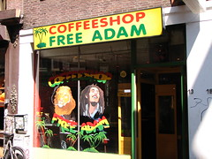 Smoking Rasta guy and smoking lion, Amsterdam