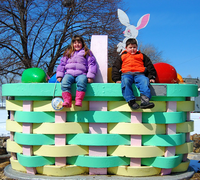 Emily and Donny at the Lorain Easter basket today