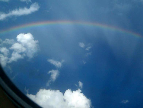 Rainbow from airplane window