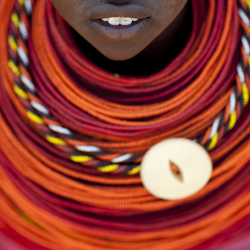 Rendille tribe girl wearing plenty of beaded nekclaces - Kenya