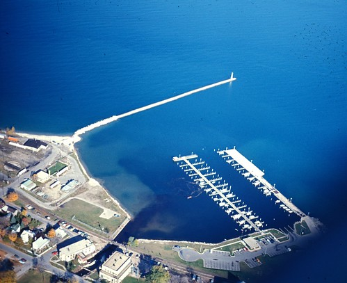 harbor waterfront aerial 1970s breakwall petoskey