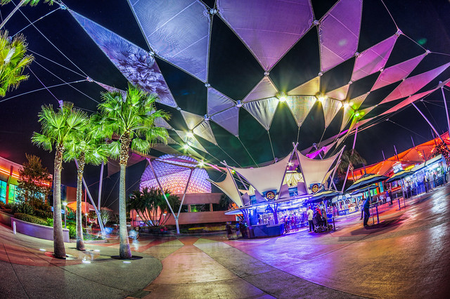 EPCOT's Innoventions Plaza at Night