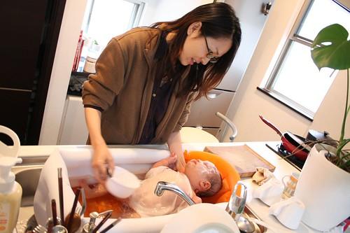 baby 沐浴中