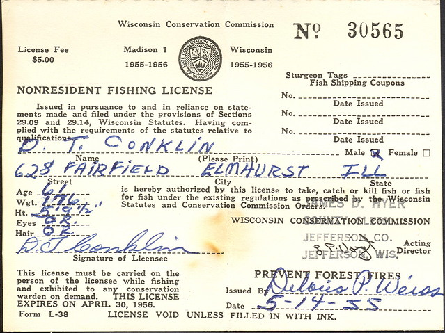 1955 wisconsin non resident fishing license flickr for Michigan non resident fishing license