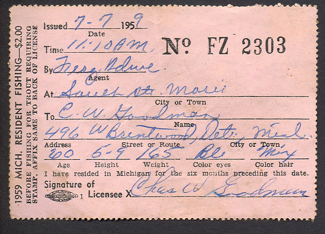 1959 michigan resident fishing license flickr photo for Michigan non resident fishing license