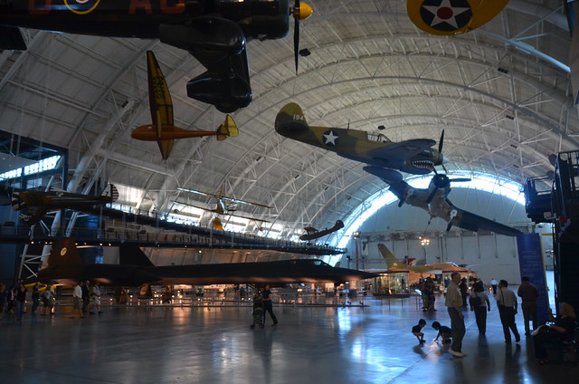 Photo:Steven F. Udvar-Hazy Center: Profile view of the SR-71 Blackbird, F-4 Corsair, P-40 Warhawk, among others By Chris Devers