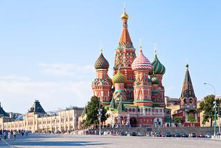 Vista de la Plaza Roja de Moscú, con la catedral de San Basilio.