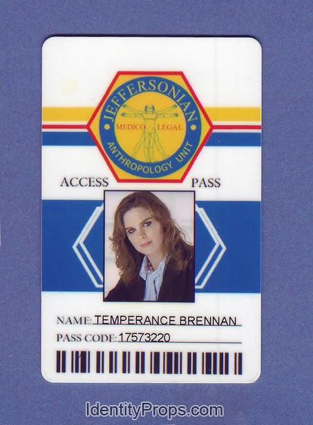 BONES jeffersonian anthropology unit  temperance brennan ID Card