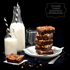 Chocolate Caramel Spiced Pecan Shortbread Bars 1