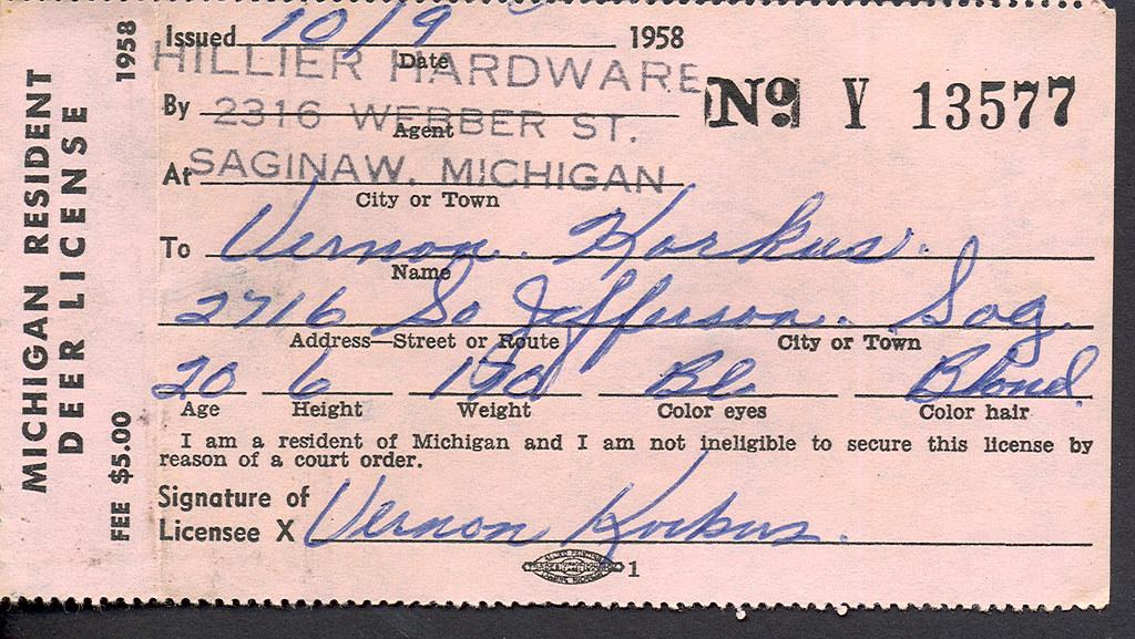 1958 michigan resident deer hunting license flickr for Fishing license michigan
