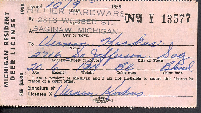 1958 michigan resident deer hunting license flickr for Michigan non resident fishing license