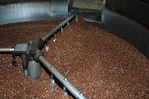 Coffee Roaster, rotating metal stir poles, ready to engage, rotating drum, Los Angeles, California, USA by Wonderlane