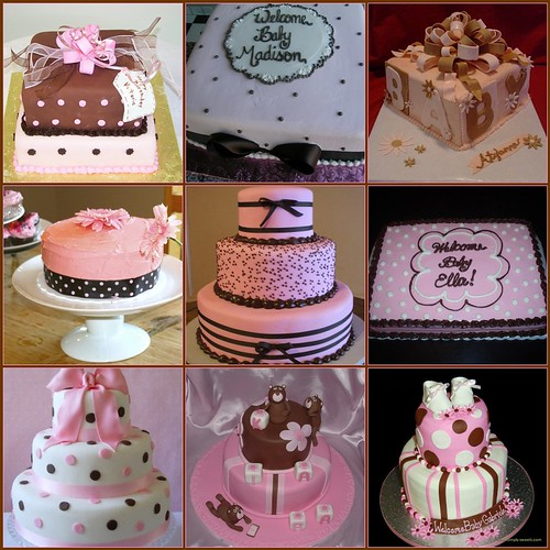 Ideas for pink and brown baby shower cake I am making for a friend ...