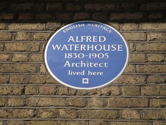 Photo of Alfred Waterhouse blue plaque