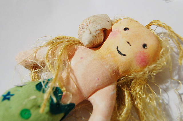 A little mermaid doll sewn by iHanna for the Mermaid Swap by Michelle Geller