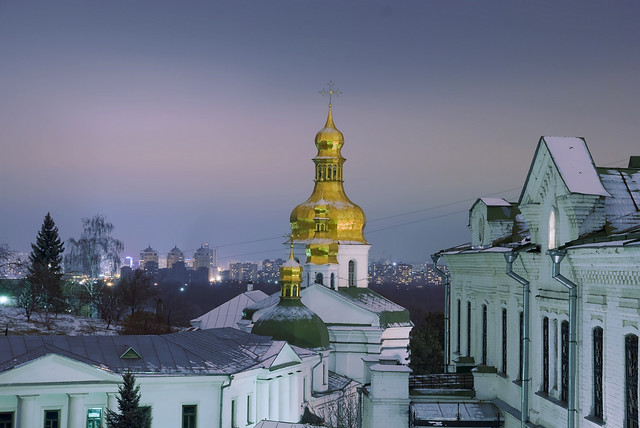 Ukraine, Night Kiev, Pechersk Lavra Monastery