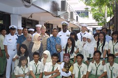 SURABAYA, Indonesia (May 12, 2011) USS Guardian (MCM 5) Sailors pose for a photo with a group of students from Sma Ipem High School in Surabaya, Indonesia. (U.S. Navy photo by Lt. j.g. Justin Van Es)