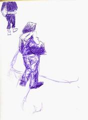 hand(0.0), anime(0.0), sketch(0.0), figure drawing(0.0), costume design(0.0), fashion illustration(0.0), cartoon(0.0), adult(0.0), arm(1.0), purple(1.0), violet(1.0), drawing(1.0), illustration(1.0),