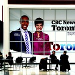 CBC News advertising board, CBC Broadcast Centre, Toronto, Southern Ontario, Canada