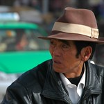 Chinese Man on Bike - Xiahe, China