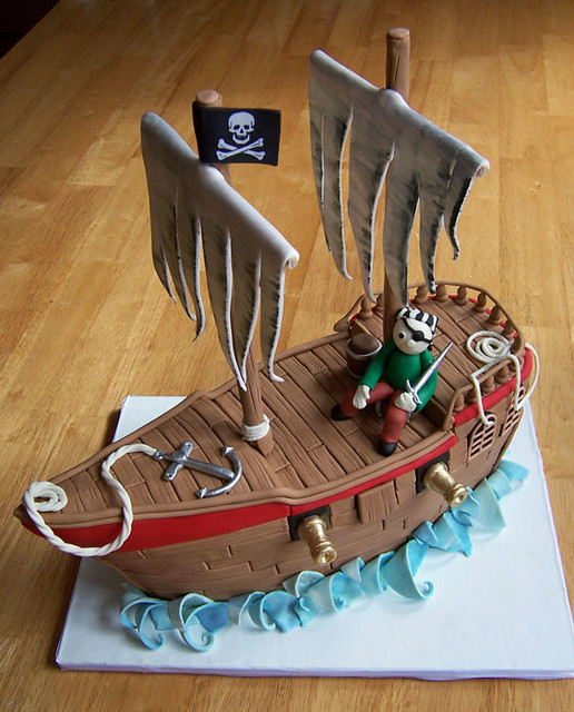 Pirate ship cake I wanted this to be very tall with ...