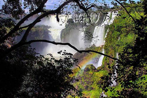 trees nature water argentina silhouette água rainbow natureza falls arcoíris cataratas silhueta