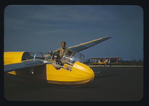 Marine lieutenant, glider pilot in training, ready for take-off at Page Field, Parris Island, S.C. Power towing plane in background  (LOC)